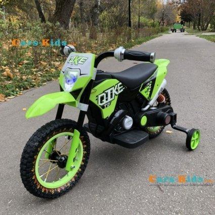 Детский кроссовый электромотоцикл зеленый Qike TD 6V - QK-3058-GREEN (колеса резина, кресло кожа, музыка, ручка газа)