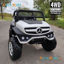 Электромобиль Mercedes-Benz Unimog Concept P555BP 4WD белый (полный привод, колеса резина, кресло кожа, пульт, музыка)